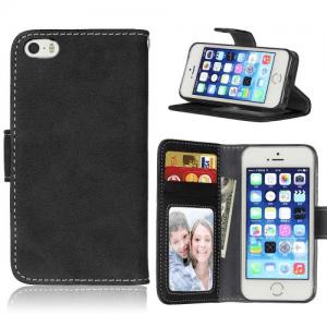 iPhone 5/5S/SE Flipcover til kort PU Læder Sort
