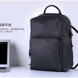 Rygsæk bærebar PC Læder/Tekstil 32x19x47cm. Sort