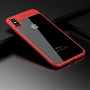 iPhone X Cover TPU klar bagside med rød ramme.
