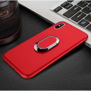 "iPhone X Cover med magnet, 360"" ringholder. Rød"