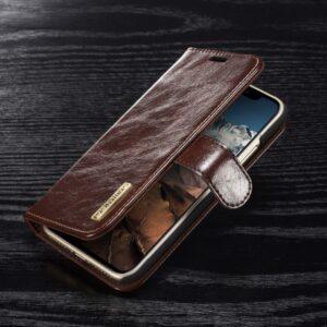 iPhone X Flipcover. Læder, magnetisk. Mørkebrun