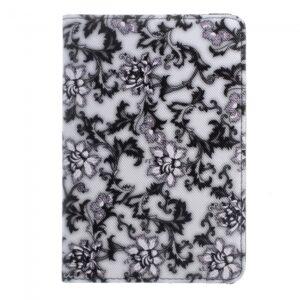 "iPad mini 4 360"" Flipcover. Blomster Hvid/Sort"