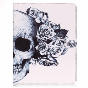 iPad 2,3,4 cover m. dvalefunktion og kortholder, hvid med skelethoved