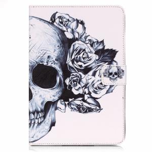iPad Air 2 cover m. kortholder og dvalefunktion, hvid m. skelethoved