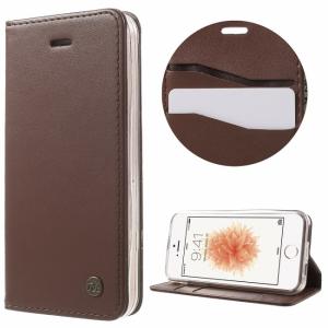 iPhone 5/5S/SE PU-læder flipcover til kort. Brun