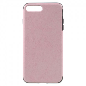 iPhone 7+/8+ læder coated TPU cover Lyserød