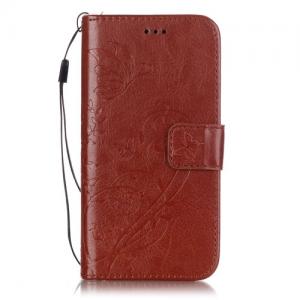 iPhone 7/8 Flipcover til kort. PU læder, Brun.