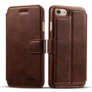 iPhone 7+/8+ flipcover t. kort. PU Læder Brun.