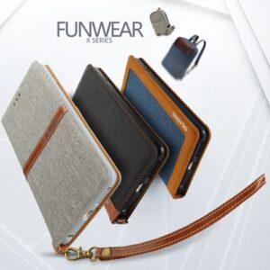 iPhone 7/8 flipcover t. kort. Tekstil m. PU læder. Grå