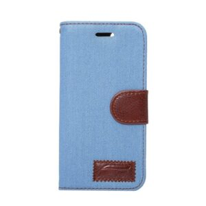 iPhone 7/8 flipcover t. kort. Jeans stof. Babyblå.