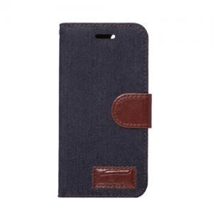 iPhone 7/8 flipcover t. kort. Jeans stof. Blå-sort.