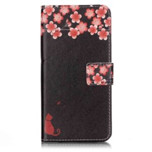iPhone 7+/8+ flipcover t. kort. Sort m. blomster.