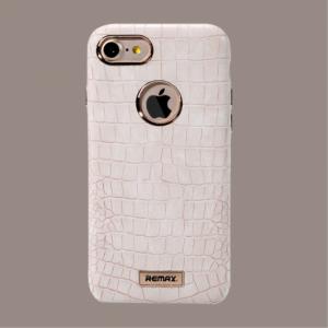 iPhone 7+/8+ Kroko præget PU læder cover. Hvid