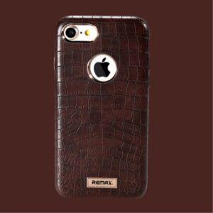 iPhone 7+/8+ Kroko præget PU læder cover. Brun
