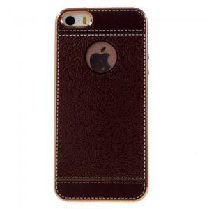 iPhone 5/5S/SE PU læder bagcover. Brun