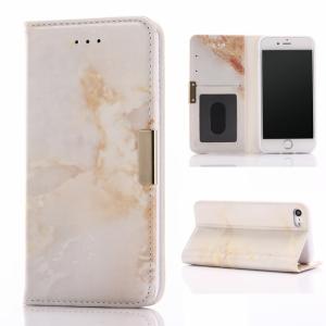 iPhone 7/8 Flipcover m. kortholder. Marmor look, Brun/Hvid