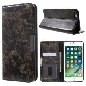 iPhone 6/6S PU Flipcover t. kort. Marmorlook. Sort