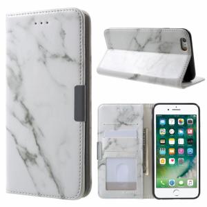 iPhone 6 Plus/6S Plus PU flipcover t. kort. Marmor, hvid