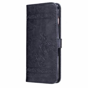 iPhone 7+/8+ FlipCover PU læder Præget blomst sort