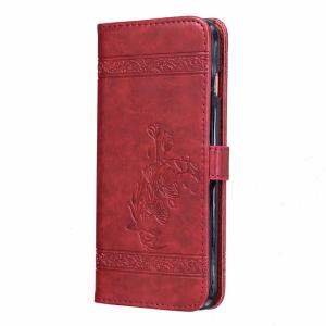 iPhone 7+/8+ FlipCover PU læder Præget blomst Rød