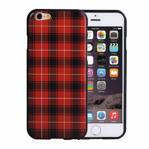 iPhone 6/6S Bagside cover TPU rød/sort ternet