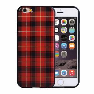 iPhone 6/6S Bagside cover TPU rød/sort ternet