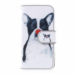 iPhone 5/5S/SE Flipcover. Hund med rød næse.