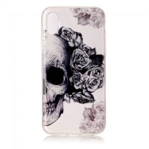 iPhone X Cover. Klar med skelethovede/Roser