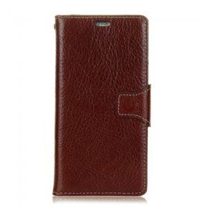 iPhone X flipcover til kort. læder brun.