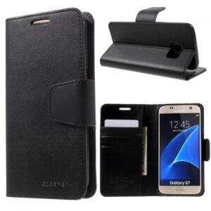 Samsung GS 7 Flipcover til kort. PU Læder sort