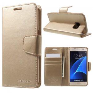 Samsung GS 7 Flipcover til kort. PU Læder Gold