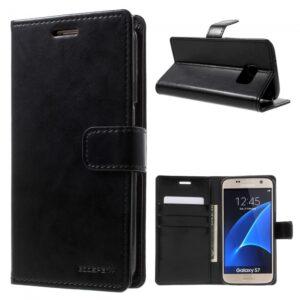 Samsung GS 7 Flipcover til kort PU Læder Sort