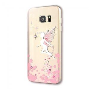Samsung GS 7 Cover TPU Englemotiv med sten Lyserød