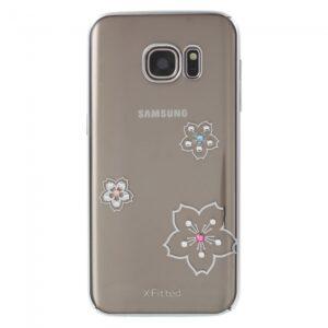 Samsung GS 7 Cover Sølvkant, Rhinestone. Blomster
