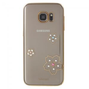 Samsung GS 7 Cover Guldkant, Rhinestone. Blomster
