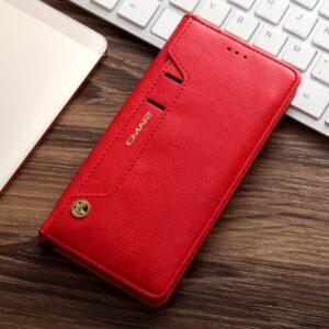 Samsung GS 7 Flipcover med kortholder PU Læder Rød