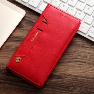 Samsung GS 7 Edge Flipcover t. kort. PU Læder Rød