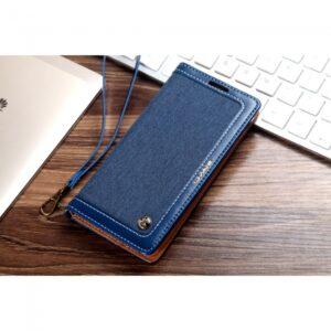 Samsung GS 7 Flipcover t. kort Jeans/PU Læder Blå