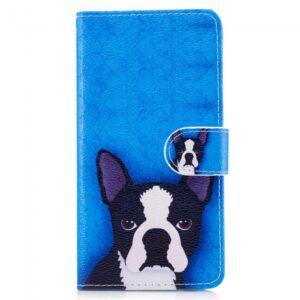 Samsung Galaxy S8 Plus Flipcover. Blå med hund.