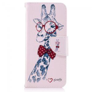 Samsung Galaxy S8 Flipcover. Lyserød med giraf.