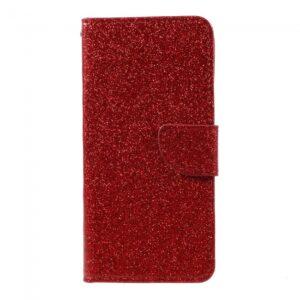Samsung Galaxy S8 Flipcover Rød med glimmer