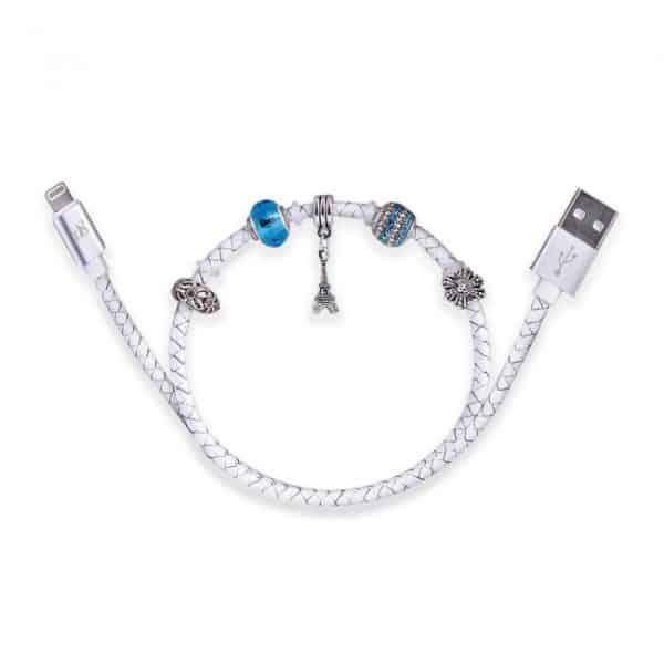 0,45 m. MFI Læder smykke lightning kabel. Hvid