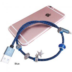 0,45 m. MFI Læder smykke lightning kabel. Blå