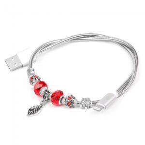 0,50 m. Lightning smykke kabel. PU Læder silver.