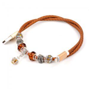 0,50 m. Lightning smykke kabel. PU Læder brun.