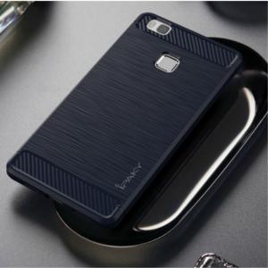 Huawei P9 Lite Bagcover Carbon Fiber. Mørkeblå