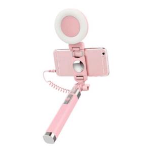 Selfie stang med LED lys. Hvid