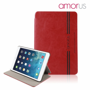 iPad mini flipcover, PU læder, Grå med hvid streg