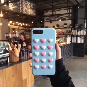 iPhone 7+/8+ Cover TPU Påsat hjerter. Blå