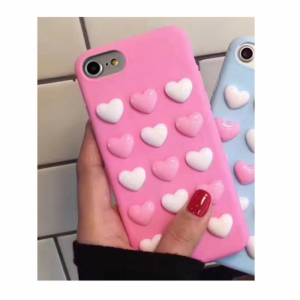 iPhone 6/6S Cover TPU Påsat hjerter. Lyserød